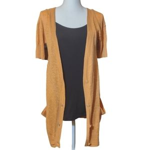 Free People 100% Linen Short Sleeve Button Long Cardigan Size XS